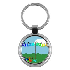Welly Boot Rainbow Clothesline Key Chains (round)