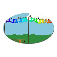 Welly Boot Rainbow Clothesline Oval Magnet