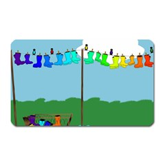 Welly Boot Rainbow Clothesline Magnet (rectangular)
