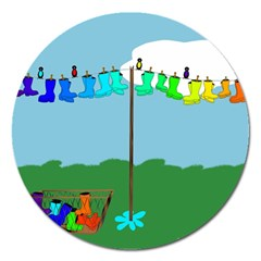 Welly Boot Rainbow Clothesline Magnet 5  (round)