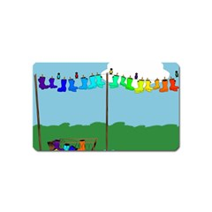 Welly Boot Rainbow Clothesline Magnet (name Card)