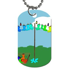 Welly Boot Rainbow Clothesline Dog Tag (one Side)