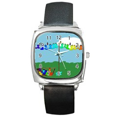 Welly Boot Rainbow Clothesline Square Metal Watch