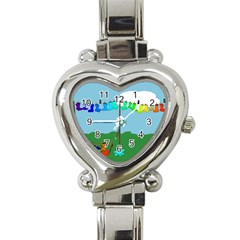 Welly Boot Rainbow Clothesline Heart Italian Charm Watch