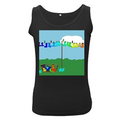 Welly Boot Rainbow Clothesline Women s Black Tank Top