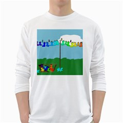 Welly Boot Rainbow Clothesline White Long Sleeve T Shirts