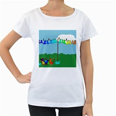 Welly Boot Rainbow Clothesline Women s Loose Fit T Shirt (white)