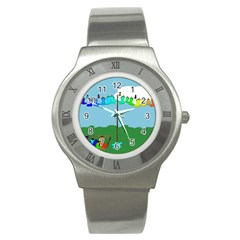 Welly Boot Rainbow Clothesline Stainless Steel Watch
