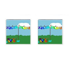 Welly Boot Rainbow Clothesline Cufflinks (square)