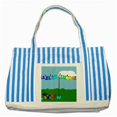 Welly Boot Rainbow Clothesline Striped Blue Tote Bag
