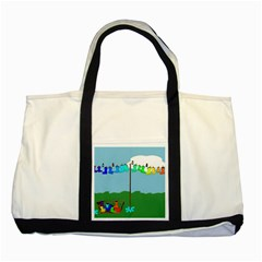 Welly Boot Rainbow Clothesline Two Tone Tote Bag