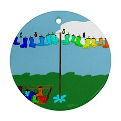 Welly Boot Rainbow Clothesline Round Ornament (two Sides)