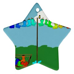 Welly Boot Rainbow Clothesline Star Ornament (two Sides)