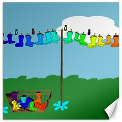 Welly Boot Rainbow Clothesline Canvas 12  X 12