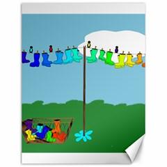 Welly Boot Rainbow Clothesline Canvas 12  X 16