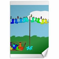 Welly Boot Rainbow Clothesline Canvas 20  X 30