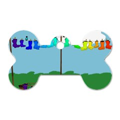 Welly Boot Rainbow Clothesline Dog Tag Bone (two Sides)
