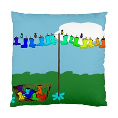 Welly Boot Rainbow Clothesline Standard Cushion Case (one Side)