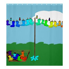Welly Boot Rainbow Clothesline Shower Curtain 66  X 72  (large)