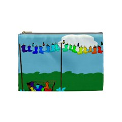 Welly Boot Rainbow Clothesline Cosmetic Bag (medium)