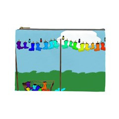 Welly Boot Rainbow Clothesline Cosmetic Bag (Large)