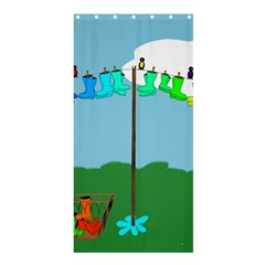 Welly Boot Rainbow Clothesline Shower Curtain 36  X 72  (stall)