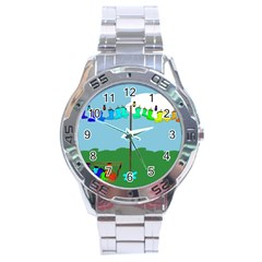 Welly Boot Rainbow Clothesline Stainless Steel Analogue Watch