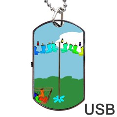 Welly Boot Rainbow Clothesline Dog Tag USB Flash (Two Sides)