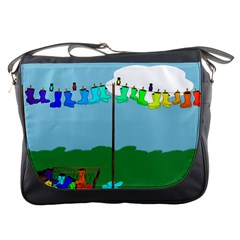 Welly Boot Rainbow Clothesline Messenger Bags
