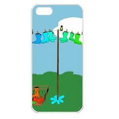 Welly Boot Rainbow Clothesline Apple iPhone 5 Seamless Case (White)