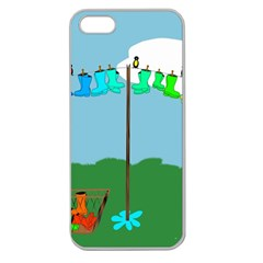 Welly Boot Rainbow Clothesline Apple Seamless iPhone 5 Case (Clear)