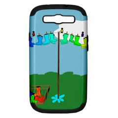 Welly Boot Rainbow Clothesline Samsung Galaxy S Iii Hardshell Case (pc+silicone)