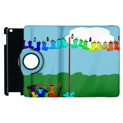 Welly Boot Rainbow Clothesline Apple iPad 3/4 Flip 360 Case