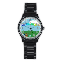 Welly Boot Rainbow Clothesline Stainless Steel Round Watch
