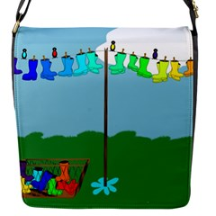 Welly Boot Rainbow Clothesline Flap Messenger Bag (s)