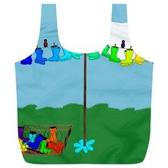 Welly Boot Rainbow Clothesline Full Print Recycle Bags (l)