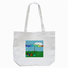 Welly Boot Rainbow Clothesline Tote Bag (White)