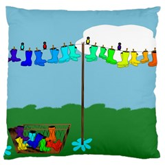 Welly Boot Rainbow Clothesline Large Flano Cushion Case (two Sides)