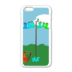 Welly Boot Rainbow Clothesline Apple iPhone 6/6S White Enamel Case