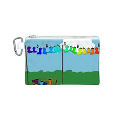 Welly Boot Rainbow Clothesline Canvas Cosmetic Bag (S)