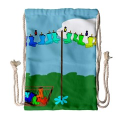 Welly Boot Rainbow Clothesline Drawstring Bag (large)