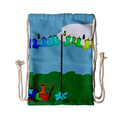 Welly Boot Rainbow Clothesline Drawstring Bag (small)