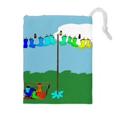 Welly Boot Rainbow Clothesline Drawstring Pouches (extra Large)