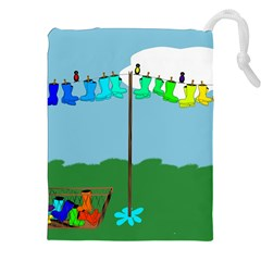 Welly Boot Rainbow Clothesline Drawstring Pouches (xxl)