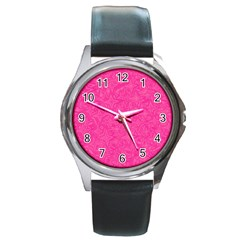 Geometric Pattern Wallpaper Pink Round Metal Watch