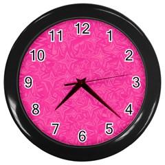 Geometric Pattern Wallpaper Pink Wall Clocks (black)