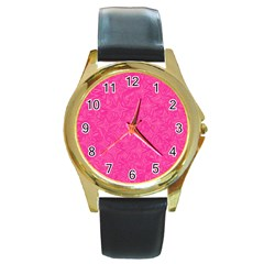Geometric Pattern Wallpaper Pink Round Gold Metal Watch