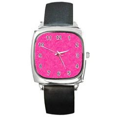 Geometric Pattern Wallpaper Pink Square Metal Watch