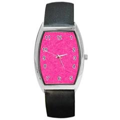 Geometric Pattern Wallpaper Pink Barrel Style Metal Watch