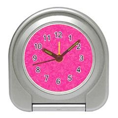 Geometric Pattern Wallpaper Pink Travel Alarm Clocks